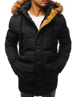 Čierna prešívaná zimná bunda - L