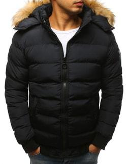 Čierna prešívaná zimná bunda s kapucňou - L