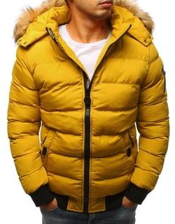 Prešívaná zimná bunda v žltej farbe - L