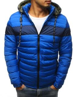 Zimná modrá bunda v zaujímavom prevedení - L
