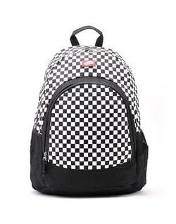 Kockovaný čierno-biely pánsky ruksak