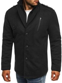 Moderní zimní pánský černý kabát 3131