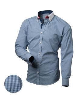 Trendy kockovaná košeľa modrej farby V031 - M