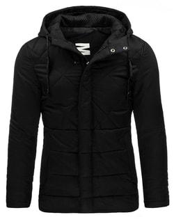 Čierna pánska zimná bunda s kapucňou